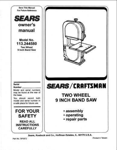 "Craftsman 9"" Band Saw Operators Manual 113.244580"