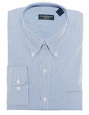 Club Room Blue White Striped Button Down Slim Fit Cotton Dress Shirt 16.5 32/33 Blue Striped Cotton Dress Shirt