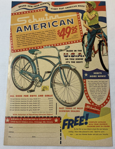 1961 SCHWINN AMERICAN cartoon bicycle ad page
