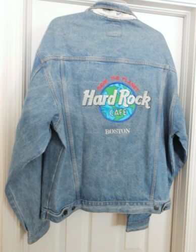 HARD ROCK CAFE BOSTON Denim Jean Jacket Save the Planet Blue Men