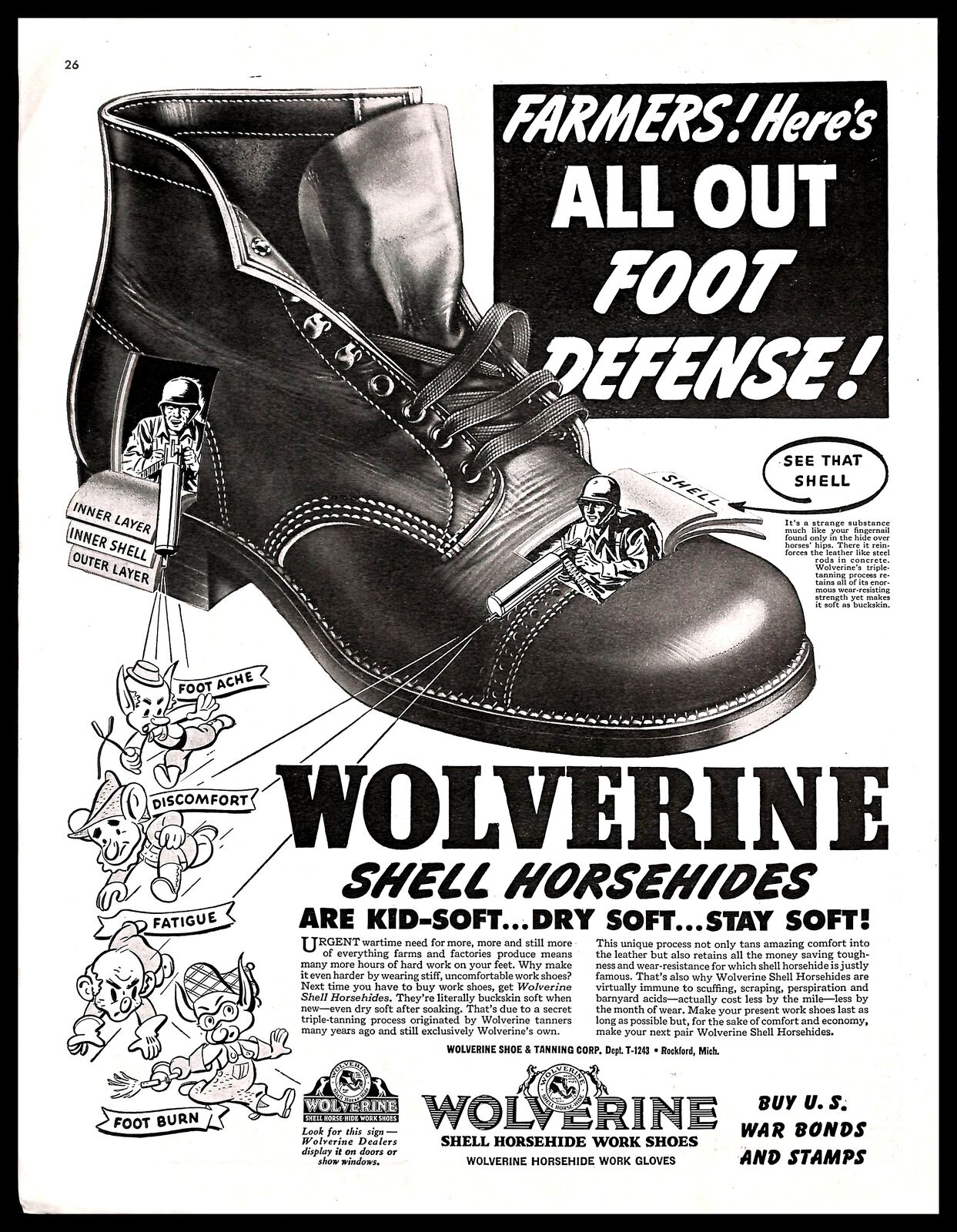 81244e492a2 Details about 1943 Wolverine Shell Horsehides Vintage PRINT AD Farmers  Boots WWII War Bonds