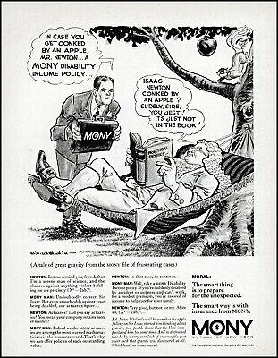 1969 Sir Isaac Newton art hammock MONY insurance apple tree retro print ad adL7