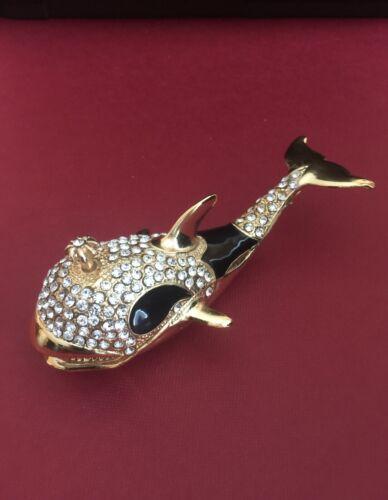 Trinket Box with Swarovski Crystal Jeweled Enamel  Whale  signed MARSACKU