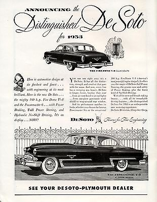De Soto 1953 - Firedome V8 - Coupe & Sedan - Vintage ad immaculate condition -