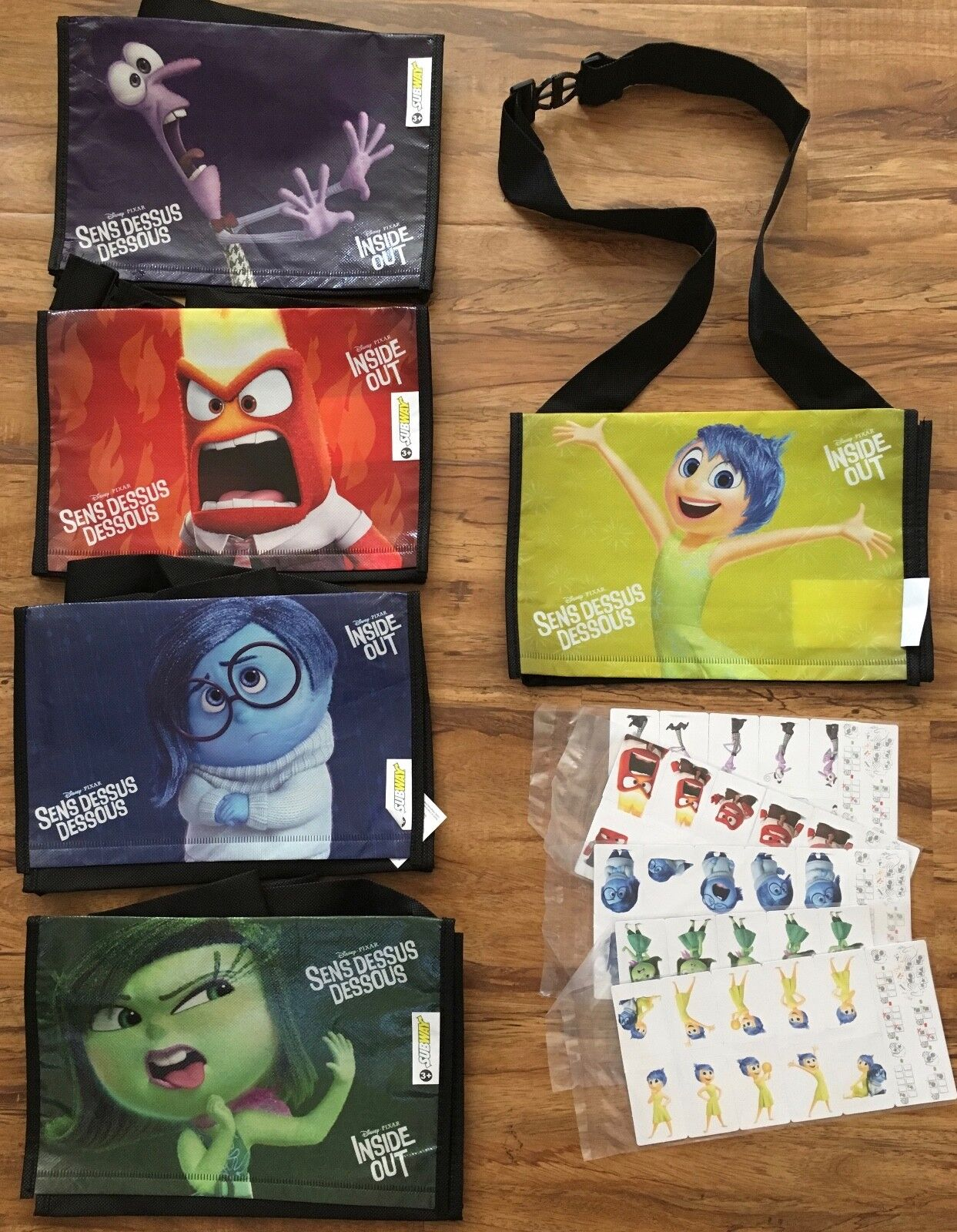 Subway Kids Meal INSIDE OUT Lunch Bags Game Pieces SET OF 5