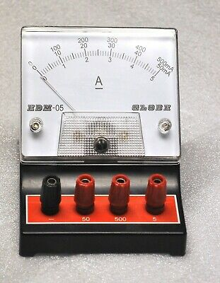 Globe D.c.ampmilliamp Meter Model Edm-05 Vintage School Surplus