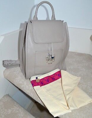 """NWOT $525 TORY BURCH """"Britten"""" Pebbled Leather Backpack French Gray Silver tone"""