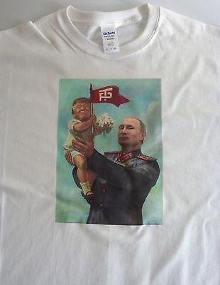 T-shirt political, Baby Trump Putin size XL white 100% cotton funny