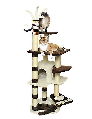 "64"" Brown White Pet Cat Tree Play House Tower Condo Bed Scratch Post Toy Balls"