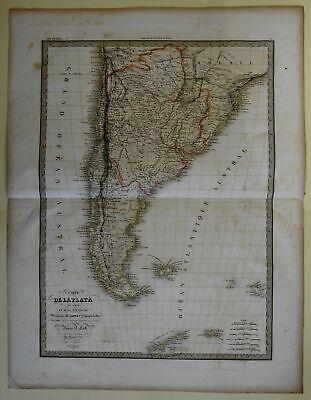 Patagonia De La Platta Tierre del Fuego South America 1829 Lapie large folio map