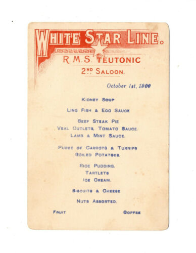RMS Teutonic Small 2nd Class Menu White Star Line TItanic Interest