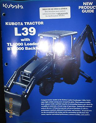 Kubota Tractor L39 With Tl1000 Loader New Product Guide Brochure Original