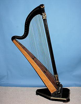 Harfe, Hakenharfe, bömischer Typ, ab 1850, Wanderharfe Europa, Restaurationsobj.