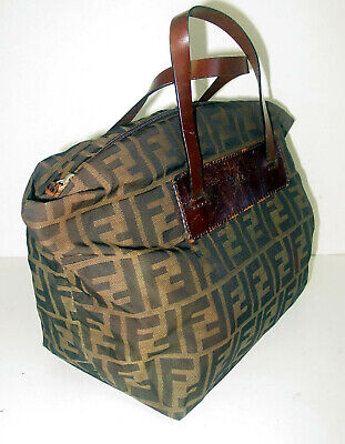 VINTAGE FENDI BROWN ZUCCA CANVAS/LEATHER FOLDABLE TOTE- ITALY- VERY RARE- BEAUTY