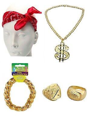 Gangster Pimp Rapper 90's Hip Hop Gang Fancy Dress Stag Fun Costume - Rapper Costume Accessories