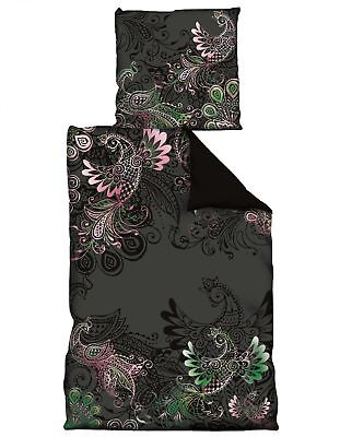 4 tlg Wende Bettwäsche 135 x 200 cm Paisley schwarz rosa 2 Garnituren