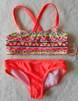Mädchen 👣 Bikini Badeanzug 👣 2tlg 👣 hellrot-bunt 👣 HERZEN