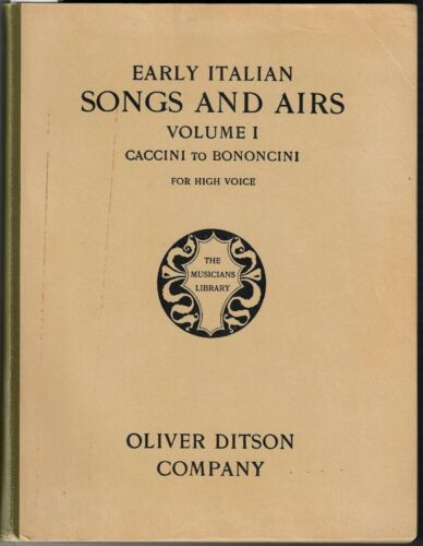 Soprano Vocal EARLY ITALIAN SONGS AND AIRS SONGBOOK VOL I CACCINI TO BONONCINI