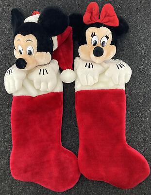 Mickey Mouse Minnie Set (2) Disney Christmas Holiday Stocking Red Disney Plush