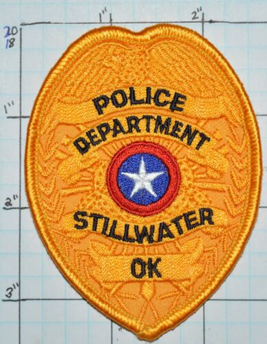 "OKLAHOMA, STILLWATER POLICE DEPT GOLD 3.5"" PATCH"