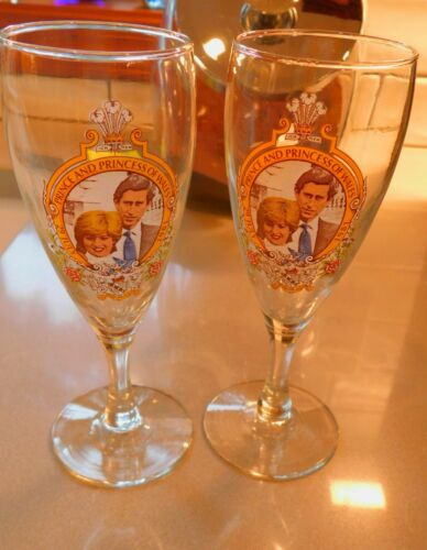 Royal Wine Glasses Prince Charles & Princess Diana Vintage Unused Stored Set Two