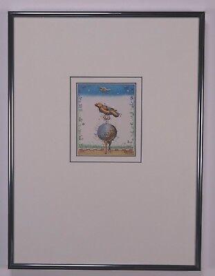 Leslie G. Hunt, Golf und Vogel,  gerahmtes Bild Alu Rahmen