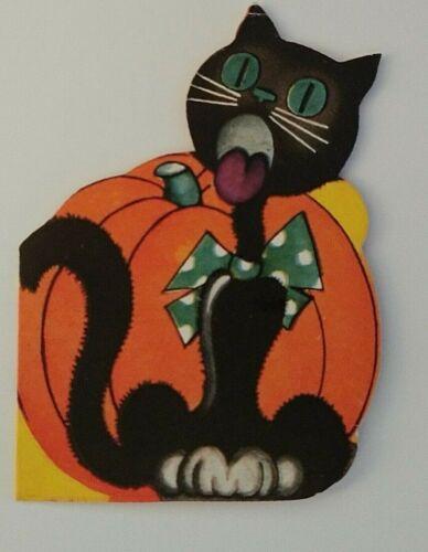 Vintage *UNUSED* Halloween Invitation: Black Cat Singing & Pumpkin *A-meri-card*