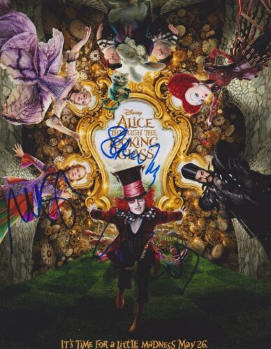 Alice Through The Looking Glass Multi-Signed 10x8 Photo AFTAL *SIGNED BY 3*