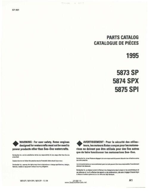 SEADOO Parts Manual Book 1995 SP 5873 SPX 5874 SPI 5875 Parts ...