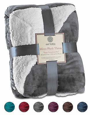 "Genteele Super Soft Luxurious Sherpa Throw Blanket, 60"" X 70"