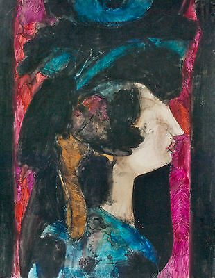 Original Abstract of Woman with Hat by Tomás Oliva Sr. Cuban Artist –P16