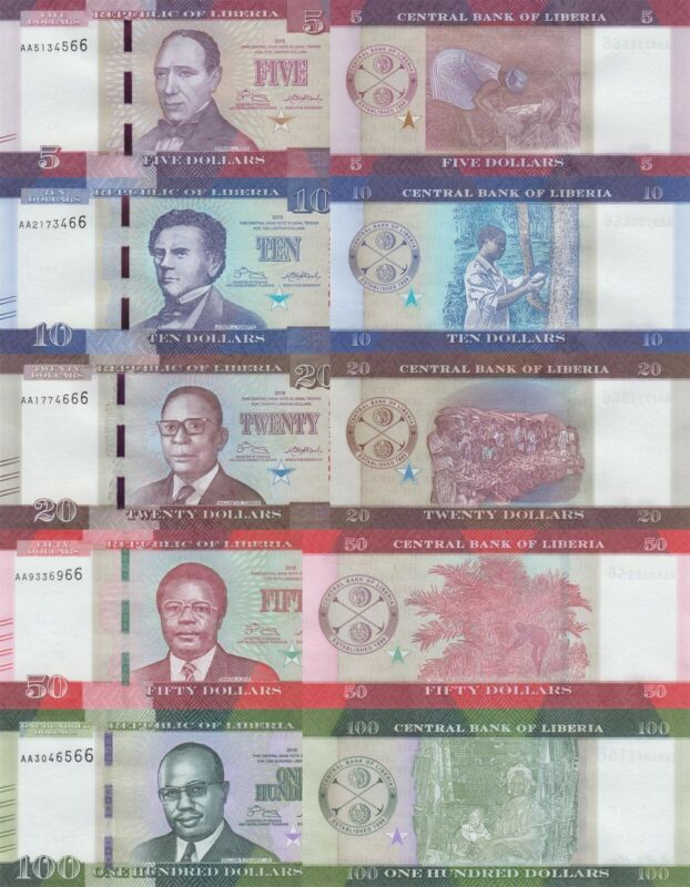 Liberia 5 Note Set: 5 to 100 Dollars (2016) - p31, p32, p33, p34 & p35 UNC