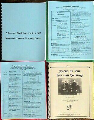 Sacramento GERMAN GENEALOGY SOCIETY Seminars - 2005-2006, 2008, 2016