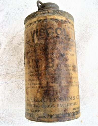 "Early leather treatment can ""VISCOL - R.S.ELLIOTT ARMS CO. KANSAS CITY MISSOURI"""