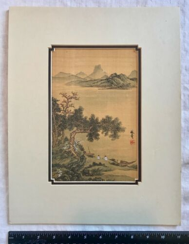 JAPANESE Hand-Painting on Silk Couple At Water