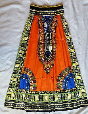 New Women African Dashiki Print Skirt Elastic Waist Orange Yellow Free Size