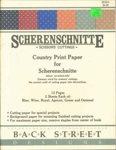 Scherenschnitte Country Print Paper Back Street 50A 10 Complete Sheets 2 Partial