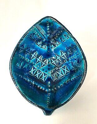 Rare Vintage Bitossi Rimini Blue 'Leaf' Bowl Aldo Londi Italian Pottery 1960s