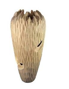 Hand Carved Mango Wood Gaudi Vase Tall, Floor vase Bankstown Bankstown Area Preview