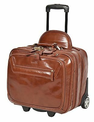 Genuine Leather Pilot case Hand Cabin Weekend Business Trolley Bag CHESTNUT