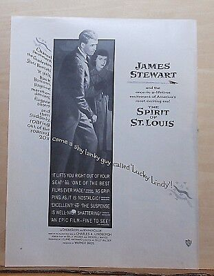 "1957 magazine ad for movie ""The Spirit of St. Louis"" - Jimmy Stewart, Lindbergh"