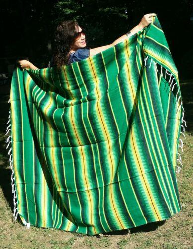 "Mexican Serape Sarape Fringed Blanket Bedspread 84"" x 60"" Stripes Lucky Green"