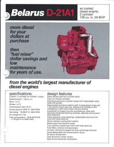 Equipment Brochure - Belarus - D-21A1 / D-144 - Diesel Engine - 2 items (E3380)