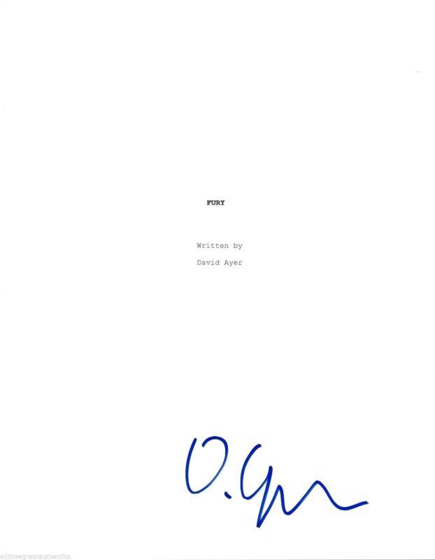 "DAVID AYER SIGNED ""FURY"" FULL 107 PAGE MOVIE SCRIPT w/COA DIRECTOR BRAD PITT"