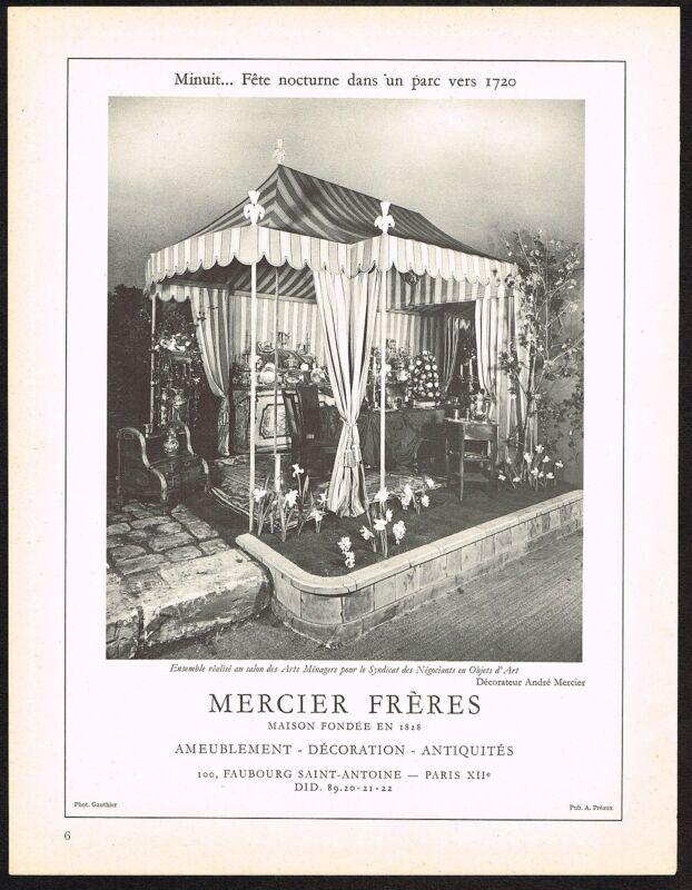 1950s Original Vintage Mercier Freres Antique Furniture Photo Print Ad