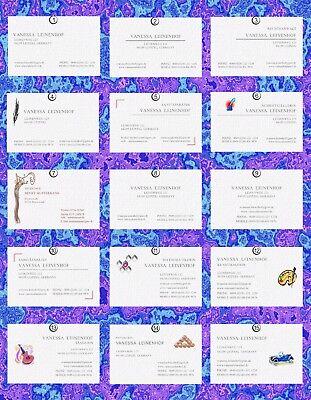50 hochwertige Visitenkarten-Auswahl auf Edelkarton Elfenbein Leinenprägung,