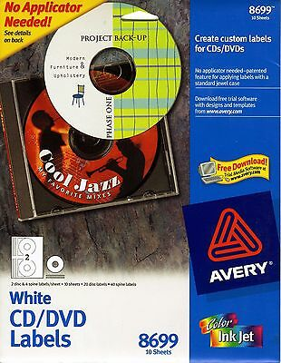 Avery White Inkjet Labels (Avery Matte White CD Labels for Inkjet Printers, 20 Face Labels and 40 Spine )