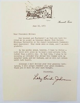 LADY BIRD JOHNSON - TYPED LETTER HAND SIGNED 06/18/1973