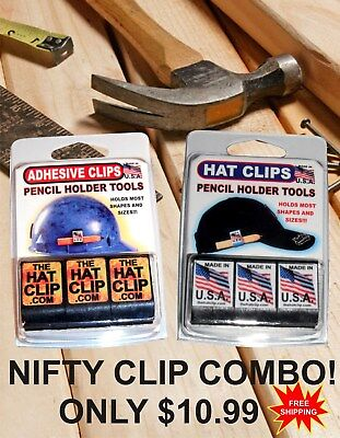 Pencil Holder Combo Pack Adhesive Carpenter Construction Hard Hat Cap Visor Usa