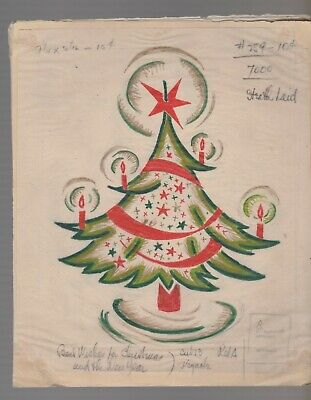 BEST CHRISTMAS WISHES Green Red Tree w/ Candles Star 7x9